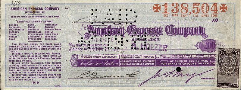 Czek podóżniczy American Express wzór z 1919 roku